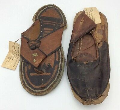 African Hand Tooled Leather Unmatched Shoes Acquired 1909 Labeled Tribal