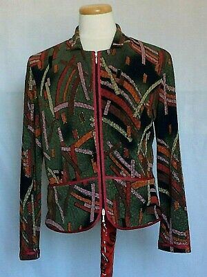 Joseph Ribkoff Womens Jacket Sz 14 Green Multicolor Abstract Pattern Zip Lined