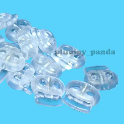 "10 / 50 / 100 Clear Oval ( Hole = 5/16"" ) Cordlock Cord Locks Toggle Barrel Stop"