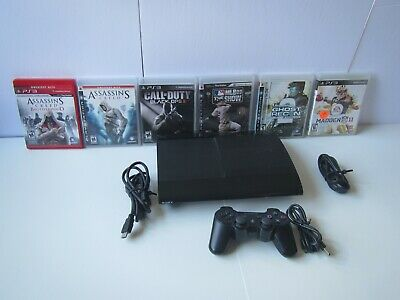 Tested PlayStation 3 PS3 Super Slim Launch Edition 12GB  1 controller & 6 games
