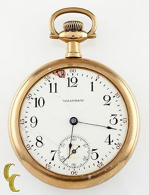 Gold Filled Waltham Antique Open Face Pocket Watch Gr 620 16S 15 Jewel