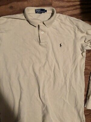 POLO Ralph Lauren Men's L Large Shirt Long Sleeve Rugby Golf Beige SAVE