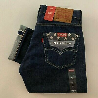 63837357674 NEW Levi's 511 Selvedge Jeans White Oak Cone Mill Denim W33 L32 Made in USA  $188