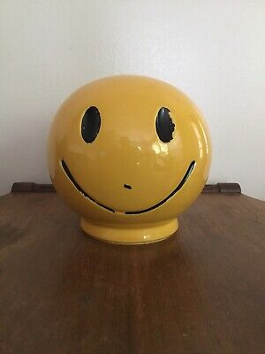 Vintage Pottery Pig Bank Cute Piggy Bank Smiley Face - Marked USA