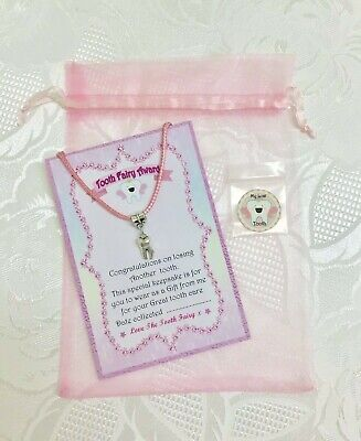 Tooth Fairy Pendant For Another Lost Tooth-Light pink cord