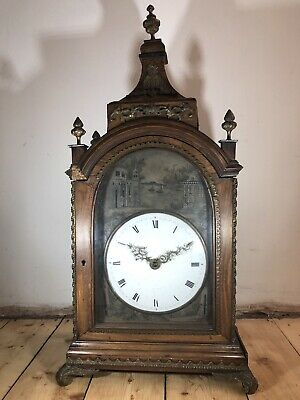 Antique 18th Century European Chinese Export Mahogany Fusee Bracket Table Clock