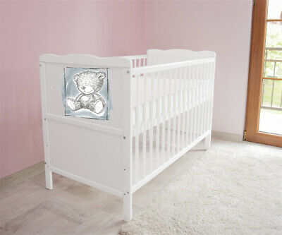 New White Wodden Baby Cot Bed / mattress / teething rails /   nr 43