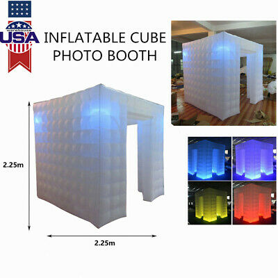 Pro 2.25M Inflatable LED Air Photo Booth Tent Wedding Birthday Party 110V White