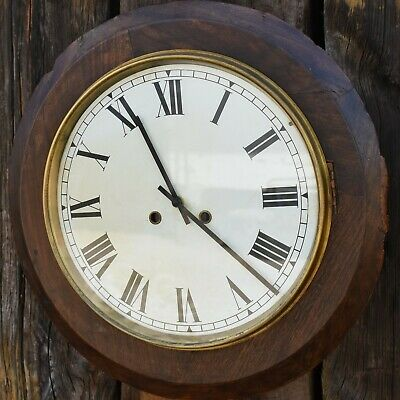 Antique Oak Wall Clock Station School Clock Replacement Quartz Movement Deep