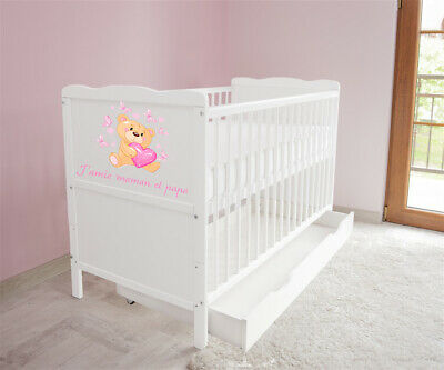 New White Wodden Baby Cot Bed / mattress / teething rails / drawer I Amie
