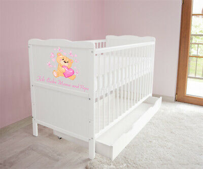 New White Wodden Baby Cot Bed / mattress / teething rails / drawer Ich Liebe