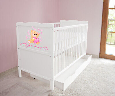New White Wodden Baby Cot Bed / mattress / teething rails / drawer Milju mamu