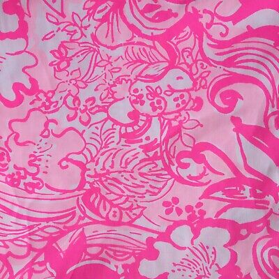 """Lilly Pulitzer Cotton Poplin Fabric, 56"""" (144cm) Wide, 042 Pink Tint Bunny Hop"""