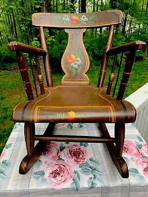 FOLK ART Antique Child's Rocking Chair SIGNED Hand Painted Lancaster PA.