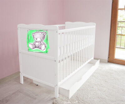 New White Wodden Baby Cot Bed / mattress / teething rails / drawer nr 44