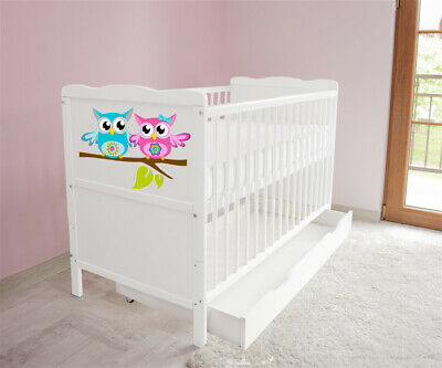 New White Wodden Baby Cot Bed / mattress / teething rails / drawer nr 45