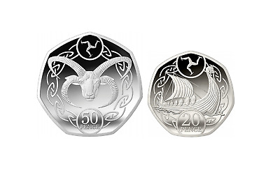 UNCIRCULATED Isle of Man 2019 Viking Boat Ship 20p + 50p Horned Ram Coins set