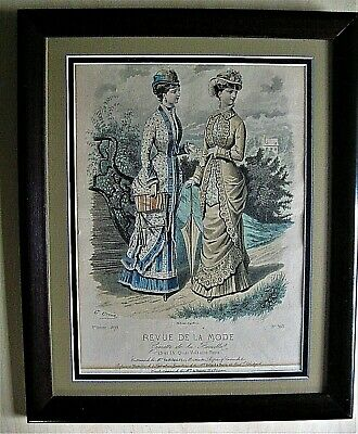 Antique Revue DE LA MODE  Paris 1879 French Victorian Fashion Nicely Framed
