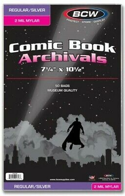 """BCW Silver Age 2 Mil Mylar Comic Book Bags (7 1/4"""" x 10 1/2"""") - Qty. 500"""