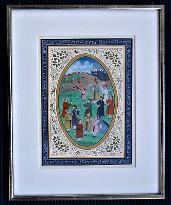 """Indo Persian - hand painted  """"Hunt gathering"""" valuable framed - 16,4x13,1  inch"""
