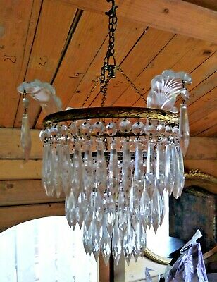 Vintage 3 Tier Icicle Waterfall Crystal Drop Chandelier