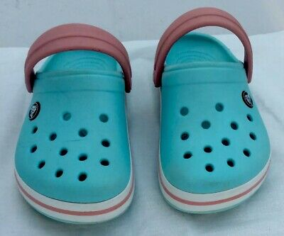 Crocs Size J1. Ice Blue With Pink Band