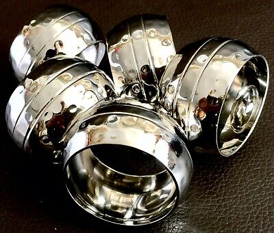 Set of Five Vintage / Antique English Silver Plated Hand Hammered Napkin Rings