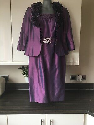 Mother of the Bride outfit by Ronald Joyce Veni  Infantino Purple Silk Uk 12 New