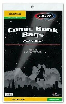 "BCW Golden Age Resealable Comic Book Bags (7 5/8"" x 10 1/2"") - Qty. 1,000"