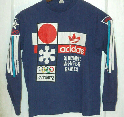Vtg ADIDAS OLYMPIC GAMES T SHIRT Rare USA MADE TREFOIL LOGO 90s Originals 2 SIDE