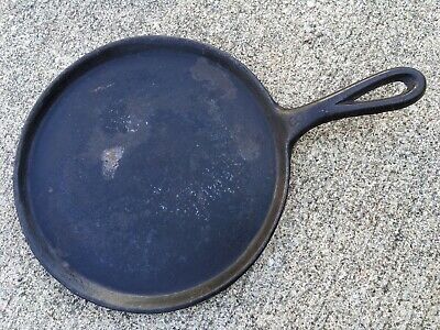 """Vintage #8 Cast Iron Griddle ~Skillet ~9"""" Round~ Unmarked~Clean~ Camping ~"""
