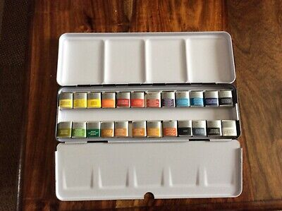 Winsor And Newton Professional Artists Watercolours  24 half Pan metal box set