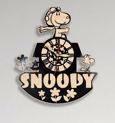 Snoopy Vinyl Wooden Wall Clock Handmade Home Ofice Decor Gift