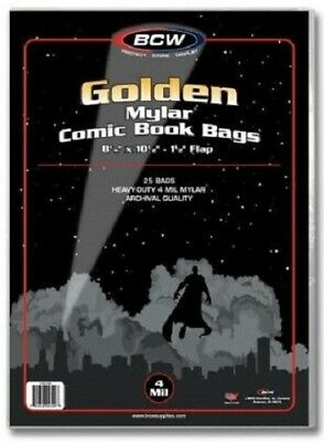 "BCW Golden Age 4 Mil Mylar Comic Book Bags (8 1/4"" x 10 1/2"") - Qty. 250"