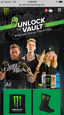 100 Monster Energy Drink Tabs-Unlock the Vault for Great Monster Gear! FREE S/H