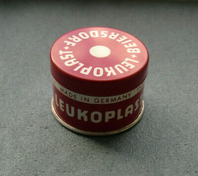 Alte kleine Blechdose LEUKOPLAST 1 m : 1 cm Nr. 516 Beiersdorf Made in Germany