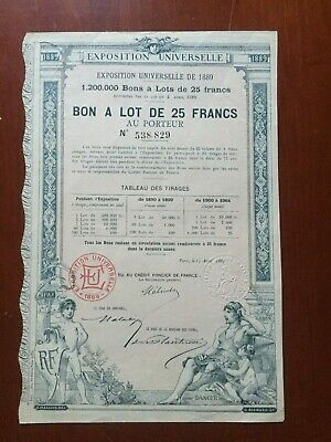 Bon a lot Exposition Universelle 1889 Bound Share