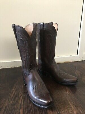 fcacbe82f4e LUCCHESE (BRANDON) COSTAGNO Brown Cowhide Cowboy Boots Men's 10D Made In USA