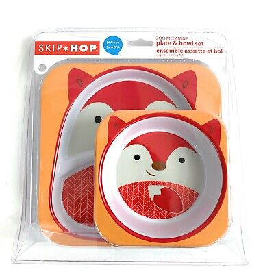 NEW Skip Hop Zoo Melamine Fox Baby Toddler Plate Bowl Mealtime Set