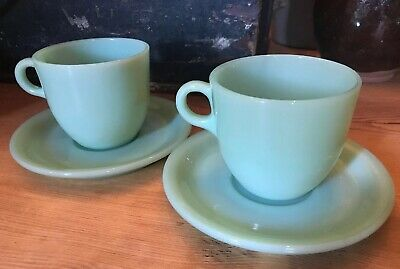 Pair Of VINTAGE FIRE KING OVEN GLASS C HANDLE JADEITE ST DENIS COFFEE CUPS