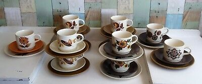 Vintage Johnson Brothers Australia Cup, Saucer & Plate Trios - Funky Patterns