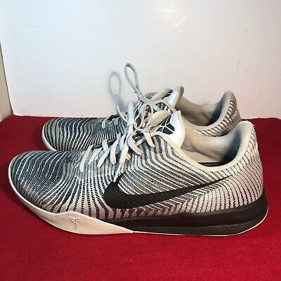 innovative design e4473 bc301 Nike KOBE Mentality II Mens Sz 13 White Black Gray Basketball Shoes 818952-