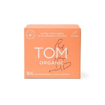 TOM Organic Ultra Thin Panty Liners (Hypoallergenic & Biodegradable) 26 pk