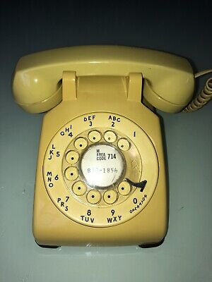 Vintage WESTERN ELECTRIC 500 DM Rotary Dial Desk Telephone Bell Mustard Yellow