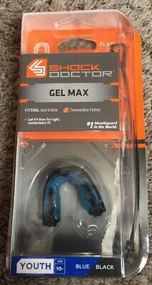 Shock Doctor Gel Max Convertible Strap Strapless YOUTH Blue Black Mouth Guard