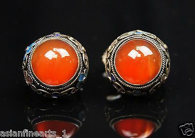 18C Vintage Old Chinese Antique Natural Agate Stone Silver Earrings Jewelry #867
