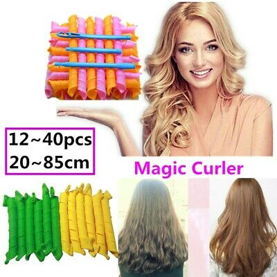 12~40pcs 25~85cm Magic Curlers Long Hair Spiral Curl Formers Leverage Rollers AU