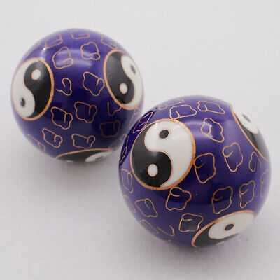 2x 50mm Yin Yang Chinese Baoding Balls Healthy Exercise Relaxation Therapy