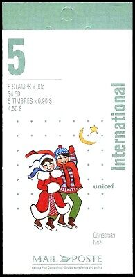 Canada Stamp Booklet #BK198 Pane of 5 - Unicef and Christmas #1629a  - MNH