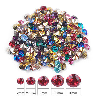 1 Bag Random Colorful Resin Diamond Rhinestones Pointed Back Plated 2mm 3mm 4mm